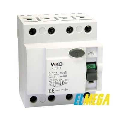 Устройство защитного отключения (УЗО) Viko 4P 25A 30mA