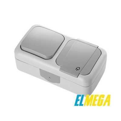 Выключатель 1-клавишный и розетка с заземлением Viko Palmiye
