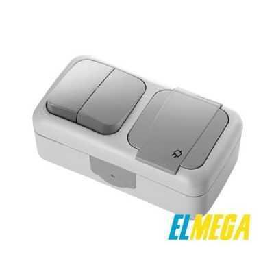 Выключатель 2-клавишный и розетка с заземлением Viko Palmiye