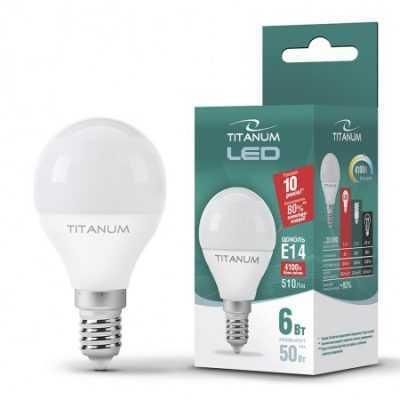 LED лампа TITANUM G45 6W E14 4100K 220V