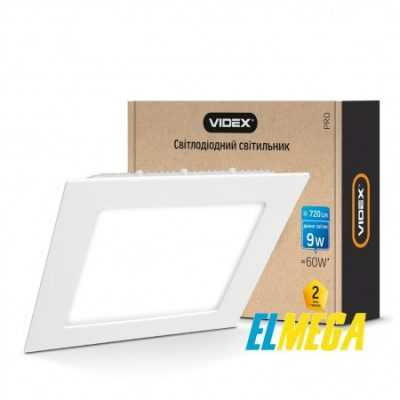 LED светильник встраиваемый квадрат VIDEX 9W 5000K