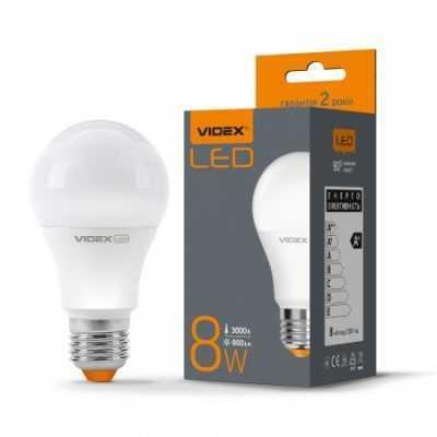 LED лампа VIDEX A60e 8W E27 3000K 220V