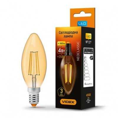 LED лампа VIDEX C37FA 4W E14 2200K 220V бронза