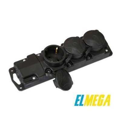 Розетка Р16-381 3-я с заземлением и крышкой каучуковая Bylectrica