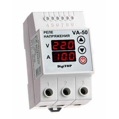 Реле напряжения с контролем тока VA-protector VА-50 DigiTOP