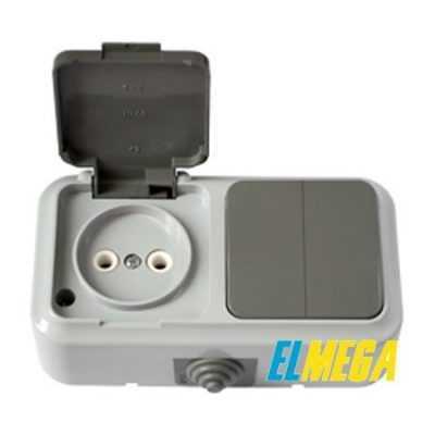 Выключатель 2-й и розетка IP54 2В-РЦ-655 (серый) Пралеска