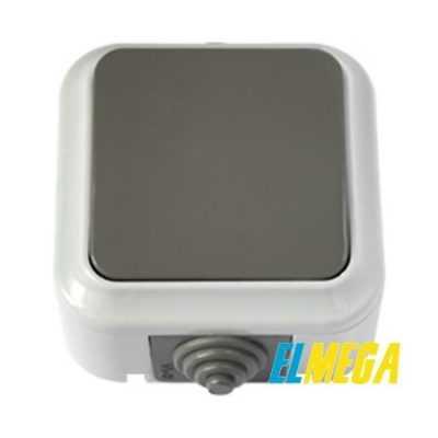 Выключатель 1-клавишный IP54 (серый) А16-222