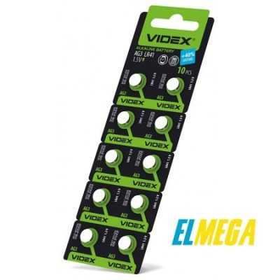 Батарейка часовая Videx AG3 (LR41) blister card 10 pcs