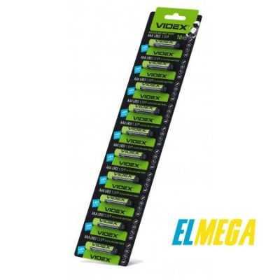 Батарейка щелочная Videx LR03 AAA 10x1pcs отрывной blister card