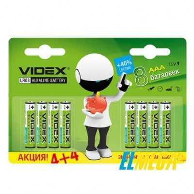 Батарейка щелочная Videx LR03 AAA 8 PCS blister card