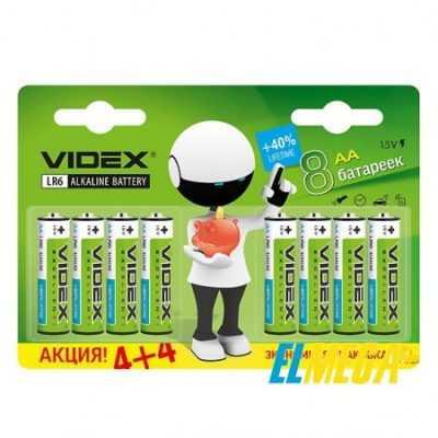 Батарейка щелочная Videx LR6 AA 8 PCS blister card