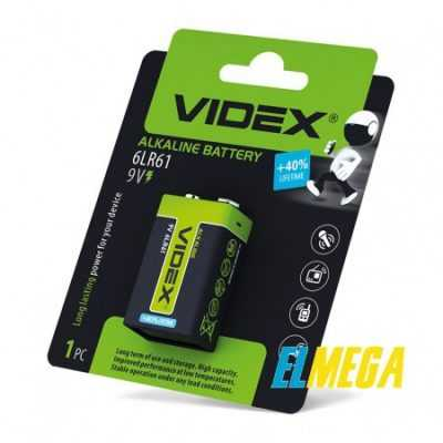 Батарейка щелочная Videx 6LR61 9V (Крона) 1pcs blister