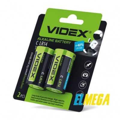 Батарейка щелочная Videx LR14 C 2pcs blister card