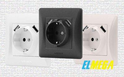 VIDEX BINERA: розетка c заземлением и 2-мя USB