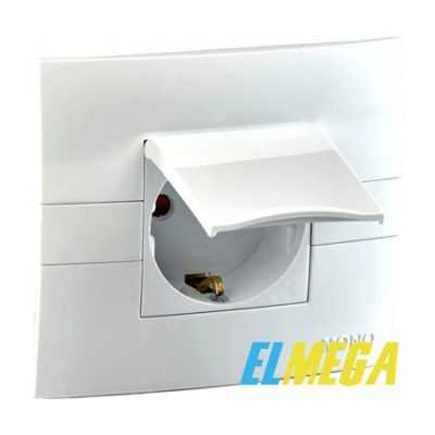 Розетка 1-я с заземлением с крышкой Mono Eco белая