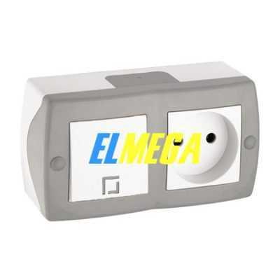 Выключатель 1-клавишный и розетка Mono Octans серый