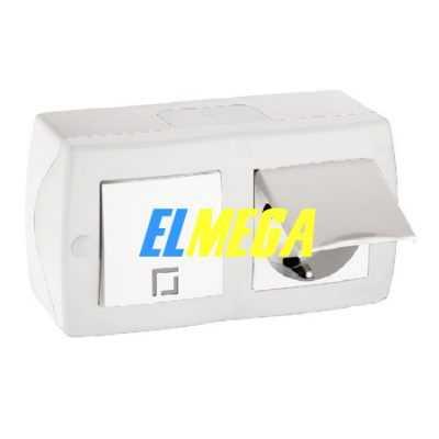 Выключатель 1-клавишный и розетка с заземлением и крышкой Mono Octans белый