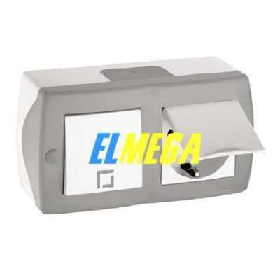 Выключатель 1-клавишный и розетка с заземлением и крышкой Mono Octans серый