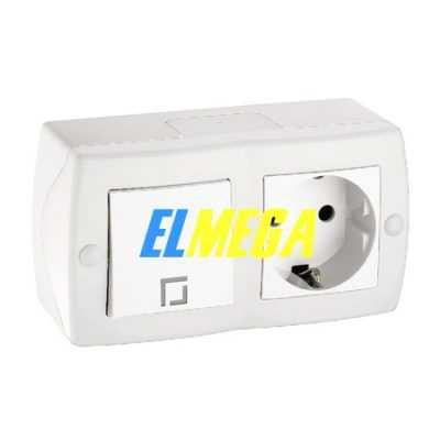 Выключатель 1-клавишный и розетка с заземлением Mono Octans белый