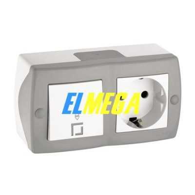 Выключатель 1-клавишный проходной и розетка с заземлением Mono Octans серый