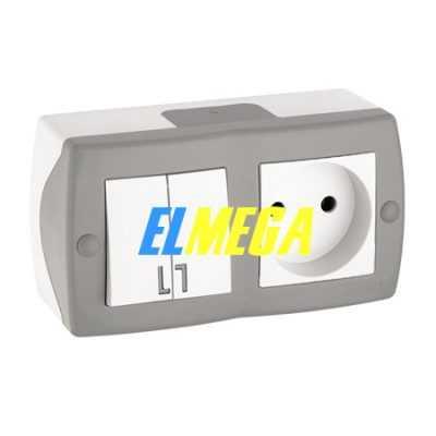 Выключатель 2-клавишный и розетка Mono Octans серый