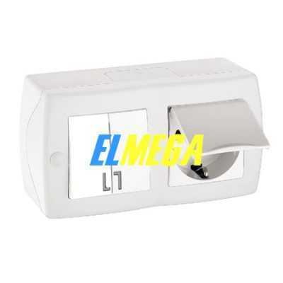 Выключатель 2-клавишный и розетка с заземлением и крышкой Mono Octans белый