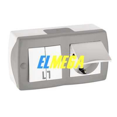 Выключатель 2-клавишный и розетка с заземлением и крышкой Mono Octans серый