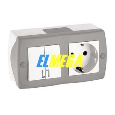 Выключатель 2-клавишный и розетка с заземлением Mono Octans серый