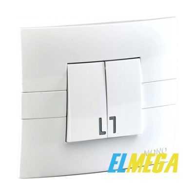 Выключатель 2-клавишный Mono Eco белый
