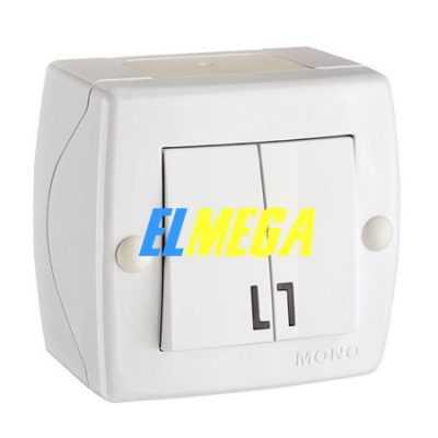 Выключатель 2-клавишный Mono Octans белый