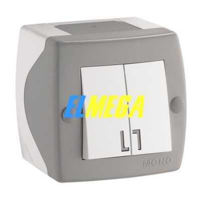 Выключатель 2-клавишный Mono Octans серый