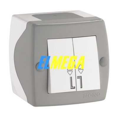 Выключатель 2-клавишный проходной Mono Octans серый