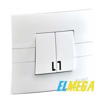 Выключатель 2-клавишный с подсветкой Mono Eco белый