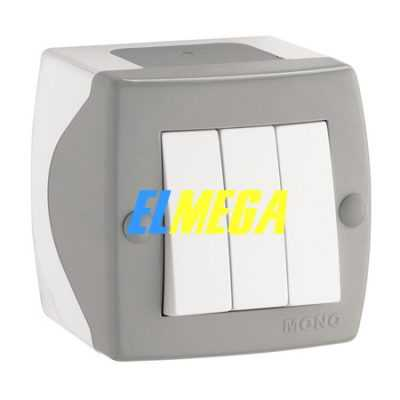 Выключатель 3-клавишный Mono Octans серый