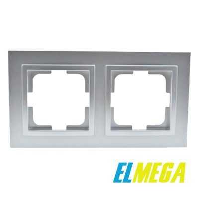 Рамка 2-местная Mono Despina серебро