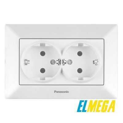 Розетка 2-я с заземлением Panasonic Arkedia Slim белый