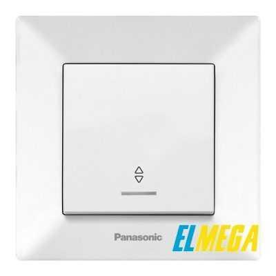 Выключатель 1-клавишный проходной с подсветкой Panasonic Arkedia Slim белый