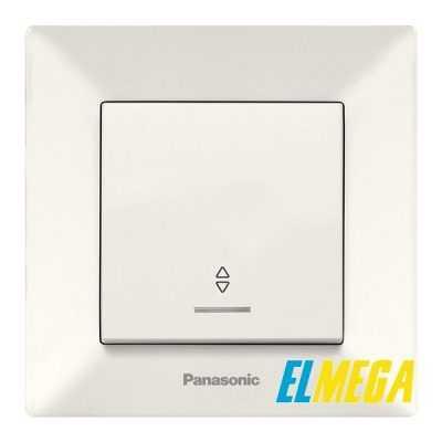 Выключатель 1-клавишный проходной с подсветкой Panasonic Arkedia Slim крем
