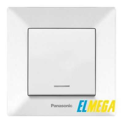 Выключатель 1-клавишный с подсветкой Panasonic Arkedia Slim белый