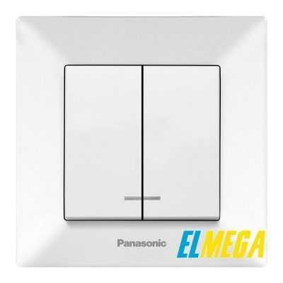 Выключатель 2-клавишный с подсветкой Panasonic Arkedia Slim белый