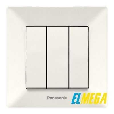 Выключатель 3-клавишный Panasonic Arkedia Slim крем
