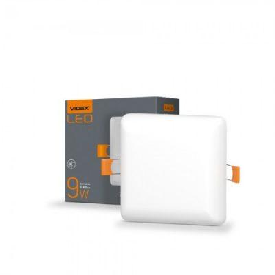 LED светильник безрамочный квадратный VIDEX 9W 4100K