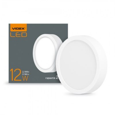 LED светильник накладной круг VIDEX 12W 5000K