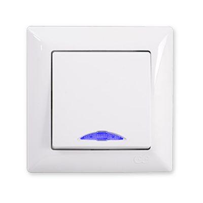 Выключатель 1-клавишный с подсветкой Gunsan Visage белый