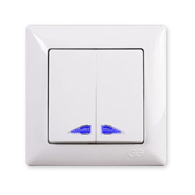 Выключатель 2-клавишный с подсветкой Gunsan Visage белый